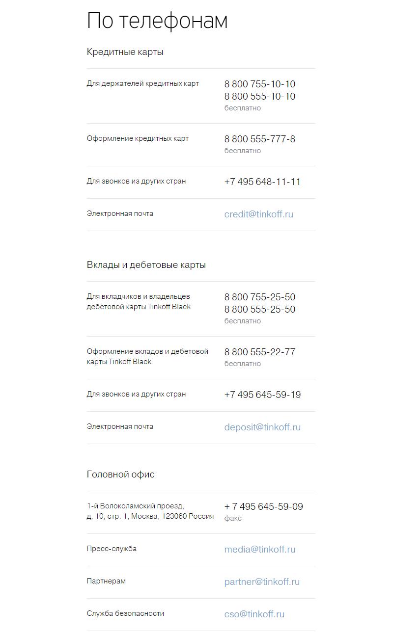 Контакты на сайте «Банка Тинькофф»