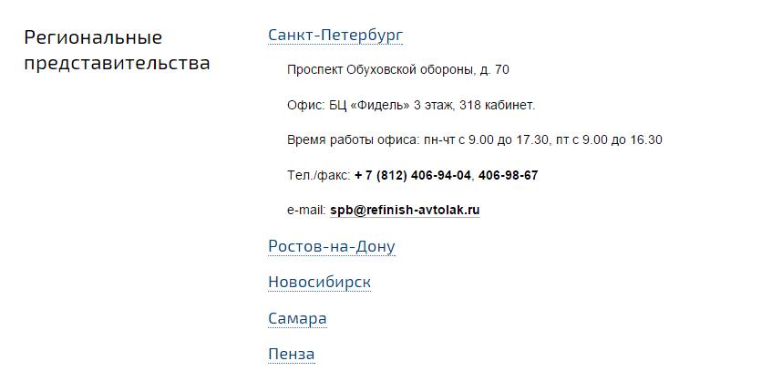 Контактная информация на сайте «Рефиниш Автолак»