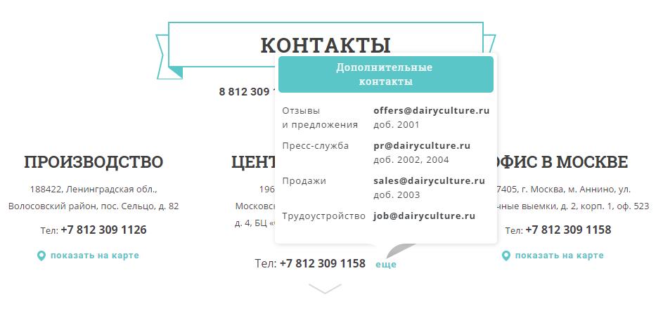 Координаты офисов бренда «Молочная культура»