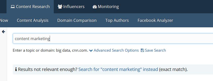 BuzzSumo: вводим ключевую фразу