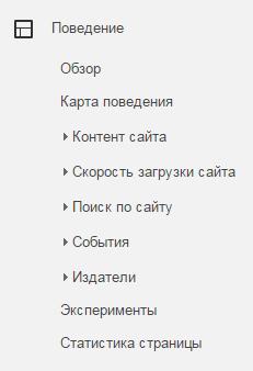 Раздел Поведение в Google Analytics