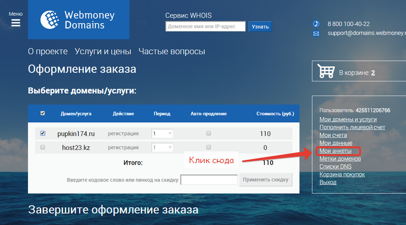 Переходим в раздел анкеты сайта domains.webmoney.ru