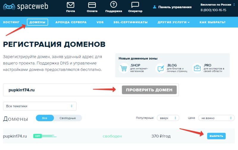 Выбираем домен на сайте sweb.ru