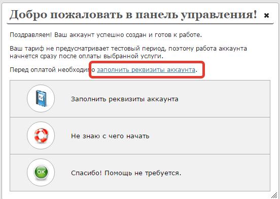 Заполняем реквизиты на сайте sweb.ru