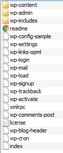 Содержимое архива основной сборки WordPress