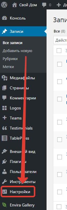 Где искать настройки сайта WordPress