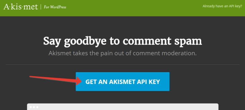 Получение ключа Akismet