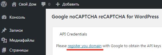 Регистрация домена для плагина reCAPTCHA options
