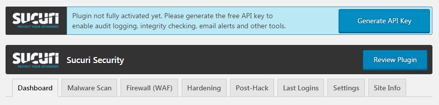 Генерируем API key в плагине Sucuri Security