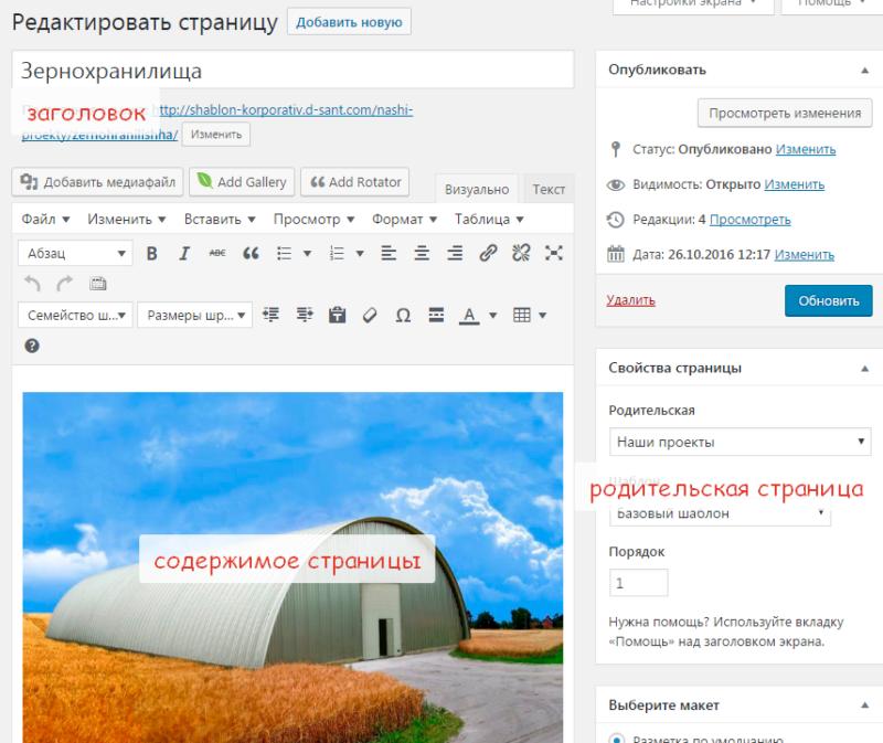 Создание страницы в CMS WordPress
