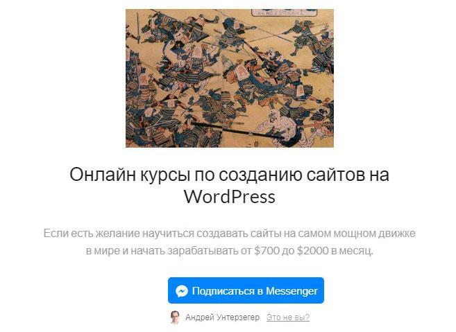 Пример кнопки ManyChat на сайте