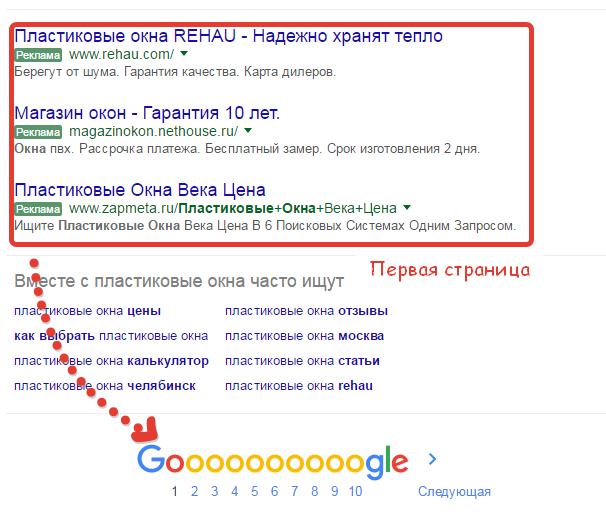 Поисковая реклама на первой странице